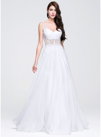 A-Line/Princess Sweetheart Floor-Length Chiffon Prom Dress With Ruffle Beading Appliques Lace
