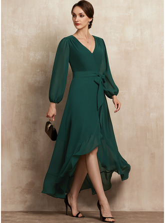A-Line V-neck Asymmetrical Chiffon Mother of the Bride Dress With Bow(s) Cascading Ruffles