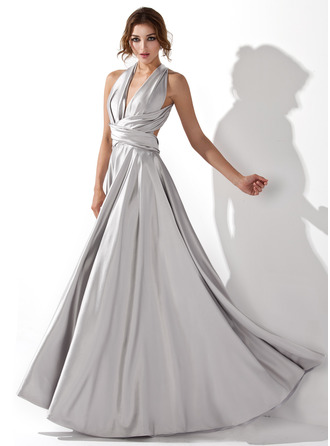 V-neck Floor-Length Charmeuse Prom Dresses With Ruffle
