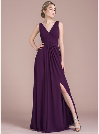 A-Line/Princess V-neck Floor-Length Chiffon Prom Dress With Ruffle Split Front