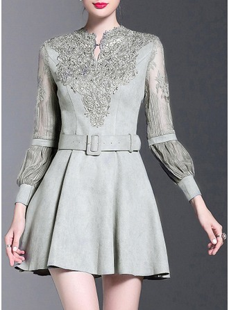 Cotton With Lace/Stitching/Embroidery/Hollow/Crumple/See-through Look Above Knee Dress