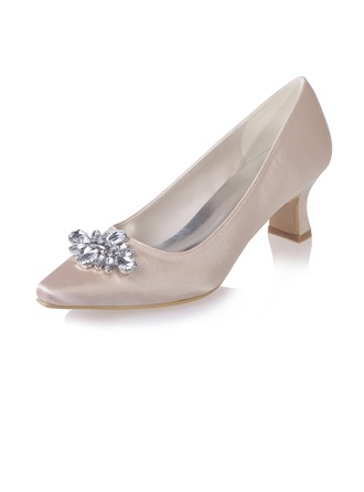 Women's Satin Chunky Heel Closed Toe Pumps