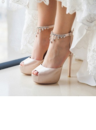 Women's Satin Stiletto Heel Peep Toe Platform Pumps Sandals With Rhinestone