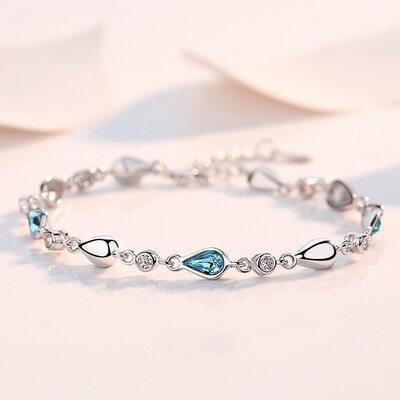 Ladies' Exquisite 925 Sterling Silver With Pear Cubic Zirconia Bracelets For Bride/For Bridesmaid