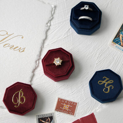 Bride Gifts - Personalized Delicate Graceful Octagon Cover Stamping Velvet Ring Holder