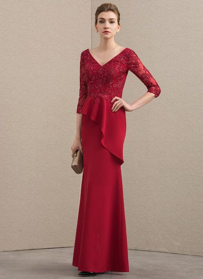 A-Line/Princess V-neck Floor-Length Lace Stretch Crepe Mother of the Bride Dress With Beading Sequins Cascading Ruffles