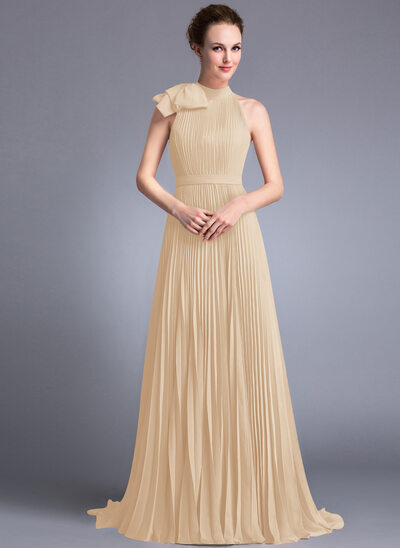 A-Line/Princess Scoop Neck Sweep Train Chiffon Evening Dress With Bow(s) Pleated