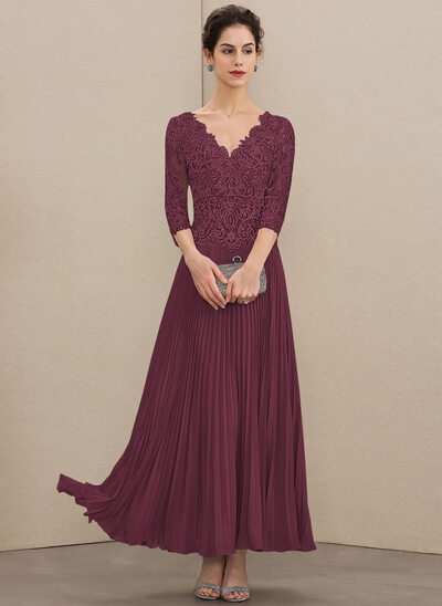 A-Line V-neck Ankle-Length Chiffon Lace Mother of the Bride Dress With Sequins Pleated