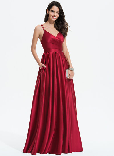 004ead1f89424 A-Line V-neck Floor-Length Satin Prom Dresses With Ruffle Pockets