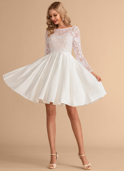 Ball-Gown/Princess Scoop Neck Knee-Length Satin Lace Wedding Dress