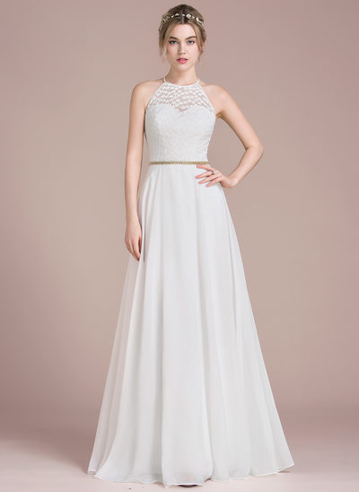 A-Line/Princess Scoop Neck Floor-Length Chiffon Lace Prom Dress With Beading