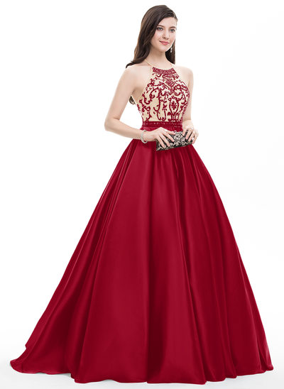 Ball-Gown Scoop Neck Sweep Train Satin Prom Dresses With Beading Sequins
