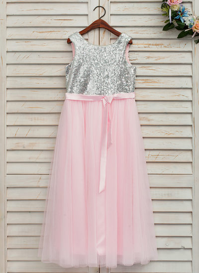 A-Line/Princess Ankle-length Flower Girl Dress - Satin/Tulle Sleeveless Scoop Neck With Sash (Detachable sash)