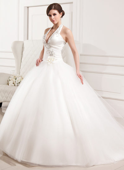 5e4f5ec74a7e Ball-Gown Halter Chapel Train Tulle Wedding Dress With Embroidered Ruffle  Flower(s)