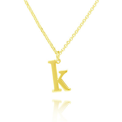 Custom 18k Gold Plated Silver Initial Letter Name Necklace Initial Necklace