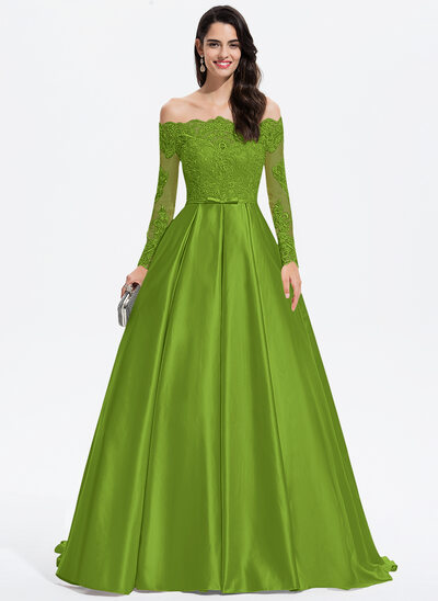 Ball-Gown/Princess Off-the-Shoulder Sweep Train Satin Prom Dresses With Bow(s)