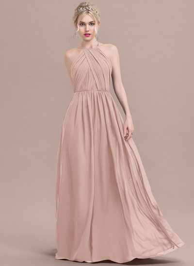 770b64ea51aa A-Line Princess Scoop Neck Floor-Length Chiffon Bridesmaid Dress With Ruffle
