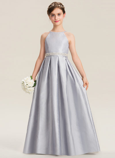 2409d763801b A-Line Scoop Neck Floor-Length Taffeta Junior Bridesmaid Dress With Beading  Bow(