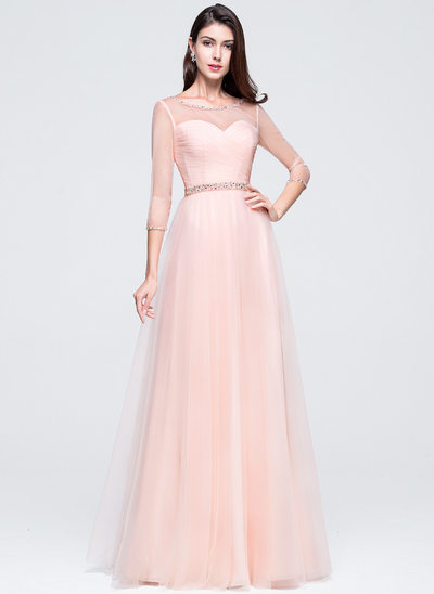 A-Line/Princess Scoop Neck Floor-Length Tulle Prom Dresses With Ruffle Beading Sequins