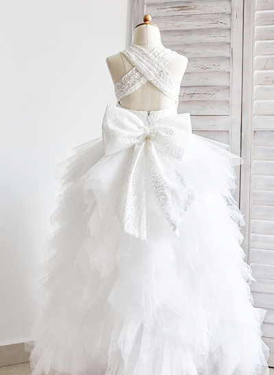 Ball Gown Ankle-length Flower Girl Dress - Tulle/Lace Sleeveless Straps With Bow(s)