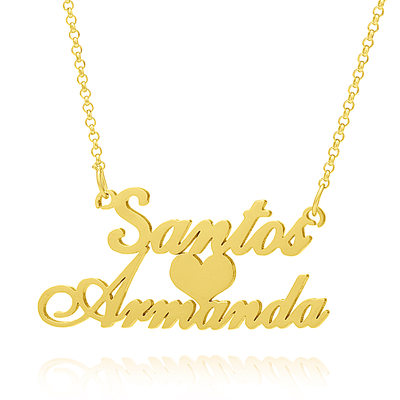 Custom 18k Gold Plated Silver Two Name Necklace