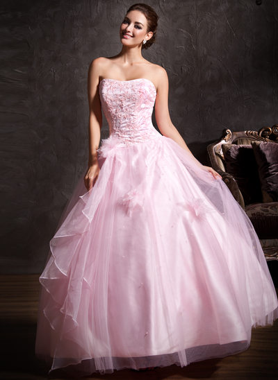 61f0127f7b Ball-Gown Sweetheart Floor-Length Tulle Quinceanera Dress With Lace Beading  Flower(s