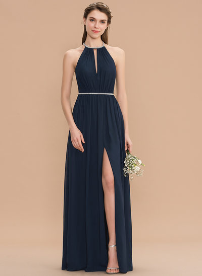8f980f277c47 A-Line Scoop Neck Floor-Length Chiffon Bridesmaid Dress With Ruffle Beading  Split Front New