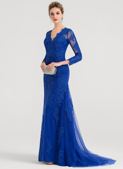 Trumpet/Mermaid V-neck Sweep Train Tulle Evening Dress