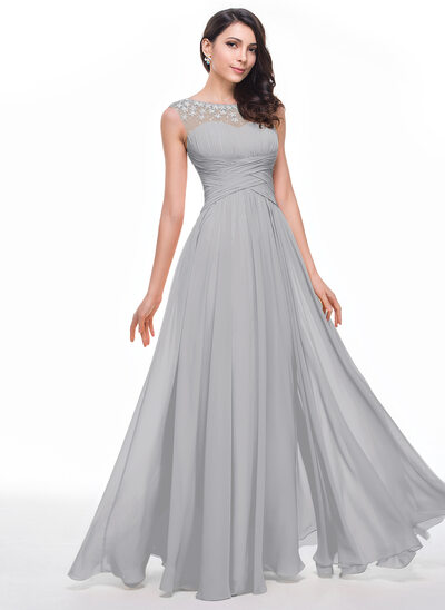 A-Line/Princess Scoop Neck Floor-Length Chiffon Prom Dresses With Ruffle Beading Flower(s)