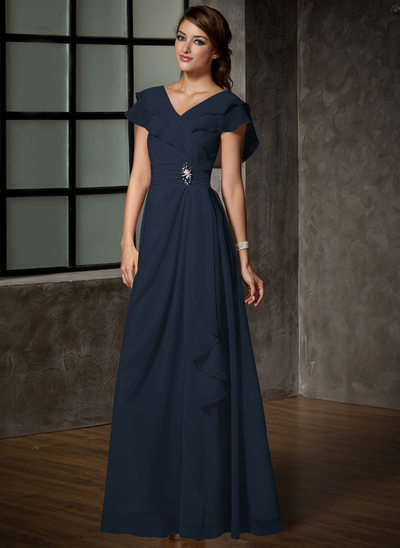 A-Line/Princess V-neck Floor-Length Chiffon Mother of the Bride Dress With Crystal Brooch Cascading Ruffles