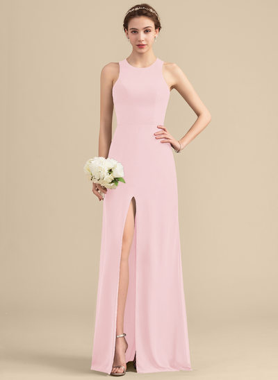 A-Line/Princess Scoop Neck Floor-Length Chiffon Bridesmaid Dress With Split Front