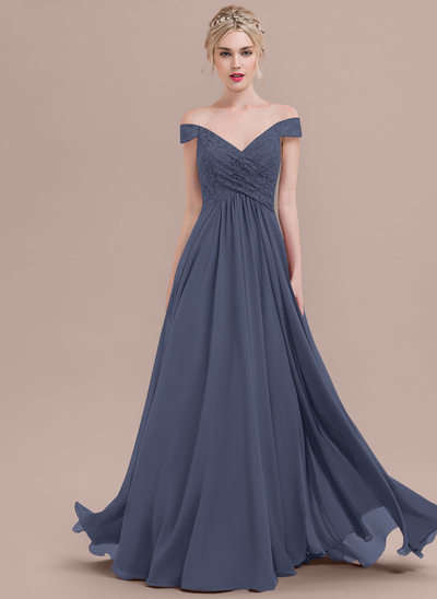 A-Line/Princess Off-the-Shoulder Floor-Length Chiffon Lace Bridesmaid Dress With Ruffle