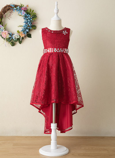 A-Line Asymmetrical Flower Girl Dress - Tulle/Lace Sleeveless Scoop Neck With Bow(s)/Rhinestone