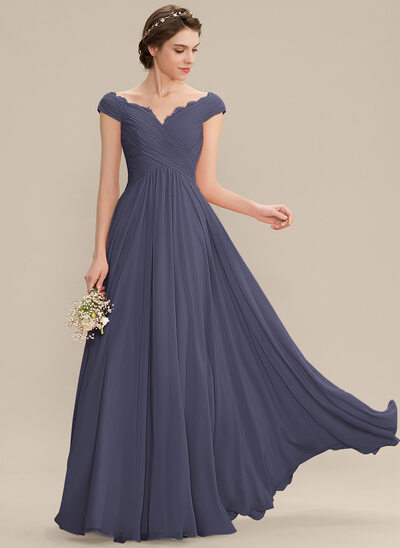 A-Line Off-the-Shoulder Floor-Length Chiffon Bridesmaid Dress With Ruffle Lace