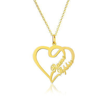 Custom 18k Gold Plated Heart Name Necklace - Valentines Gifts