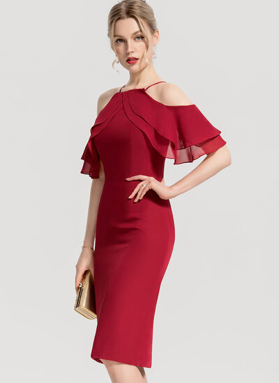 Sheath/Column Square Neckline Knee-Length Chiffon Bridesmaid Dress With Cascading Ruffles