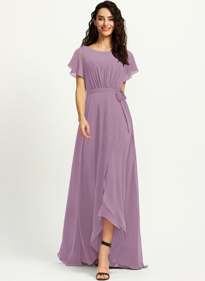 A-Line Scoop Neck Asymmetrical Prom Dresses With Ruffle