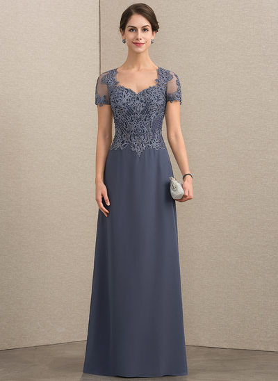 A-Line/Princess Sweetheart Floor-Length Chiffon Lace Mother of the Bride Dress With Beading Sequins