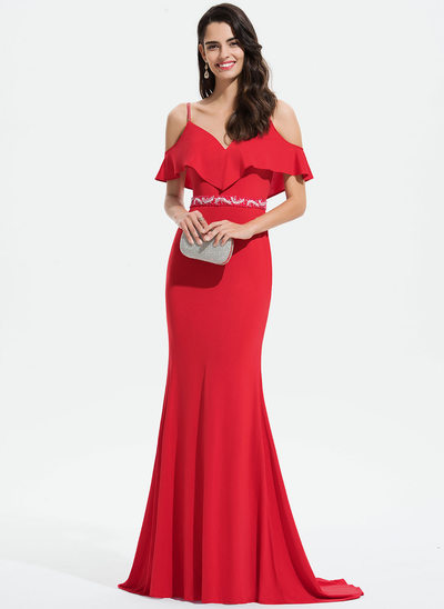 Trumpet/Mermaid V-neck Sweep Train Jersey Prom Dresses With Lace Beading Sequins Cascading Ruffles