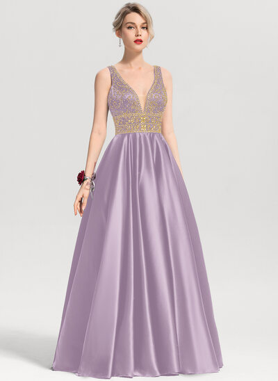 Ball-Gown V-neck Floor-Length Satin Prom Dresses With Beading Sequins