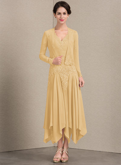 A-Line/Princess V-neck Ankle-Length Chiffon Mother of the Bride Dress With Appliques Lace Sequins