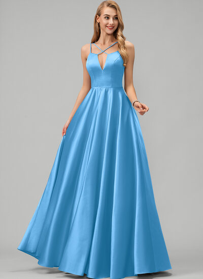 A-Line V-neck Floor-Length Satin Prom Dresses