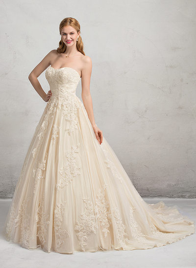 Ball-Gown Sweetheart Chapel Train Tulle Lace Wedding Dress