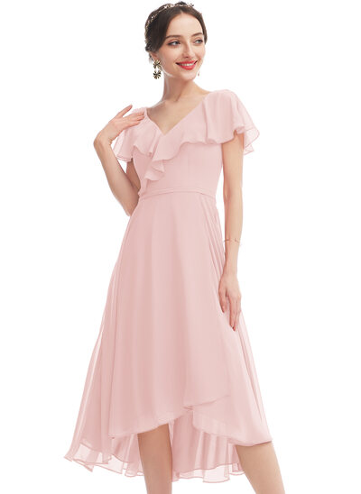 A-Line V-neck Asymmetrical Cocktail Dress With Ruffle