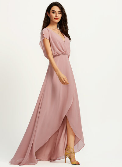 A-Line V-neck Asymmetrical Bridesmaid Dress With Split Front
