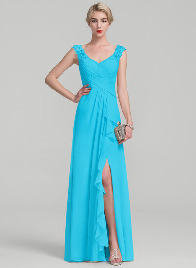 A-Line V-neck Floor-Length Chiffon Lace Evening Dress With Split Front Cascading Ruffles