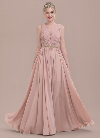 A-Line/Princess V-neck Floor-Length Chiffon Lace Bridesmaid Dress With Ruffle Beading