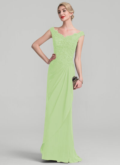 A-Line/Princess Off-the-Shoulder Floor-Length Chiffon Lace Evening Dress With Beading Sequins Cascading Ruffles