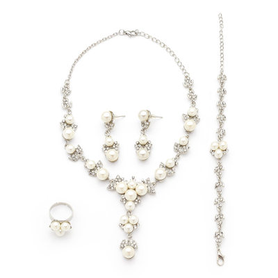 Gorgeous Pearl/Platinum Plated With Rhinestone Ladies' Jewelry Sets