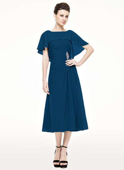 A-Line/Princess Scoop Neck Tea-Length Chiffon Mother of the Bride Dress With Ruffle Beading Sequins